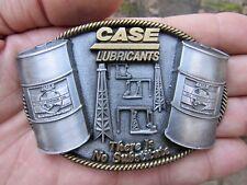 Vtg CASE LUBRICANTS Belt Buckle OIL Derrick Substitute Engine Barrel RARE VG++