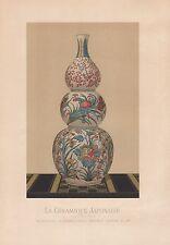1881 Céramique Japonaise en Chromolithographie Chromo litho Didot Print Estampe