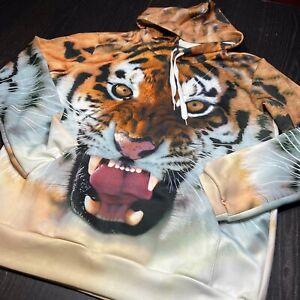 Tiger King Hoodie Hoody Mens SMALL Jacket Sweater Big Jungle Cat Asian Kitty