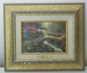 (SHP) Thomas Kinkade Bridge of Faith Framed Brushwork.