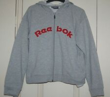New 12 Reebok Grey Marl Hoodie Sweat Shirt Style Top Red embroidered edge logo