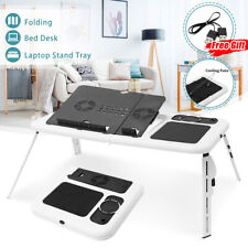 Laptop Desk Foldable Table e-Table Bed with USB Cooling Fans Stand TV Tray