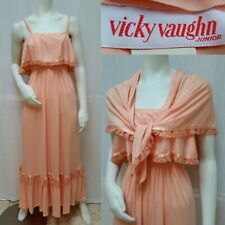 4a073416a Vintage 70s VICKY VAUGHN Peach Boho Ruffle Lace Maxi Dress with SHAWL -Size  XS/