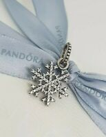 Authentic Pandora Retired Silver Snowflake Winter Kiss Pendant Charm 390354CZ