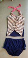 Lime Ricki Swimsuit Set Tankini Top Skirted Bottom Navy Blue Juniors Size XL