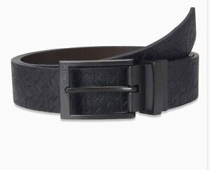 Calvin Klein Genuine Leather Belt Size 34. Reversible Monogram 75642
