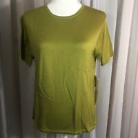 Kevo short sleeve womens knit top 100% 2 ply silk M lichen moss green crew nwt