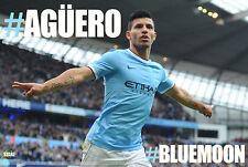 Sergio Aguero #BLUEMOON Manchester City FC Soccer UK Import POSTER