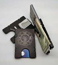 Fire Department, Aluminum Wallet/Credit Card Holder, RFID Protection, Black