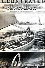 America Cup YACHT RACE Winner Volunteer 1887 Antique Matted Engraving Print