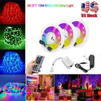 49FT RGB 3528 LED Strip Lights With IR Remote Back Light DC 12V Colour Changing