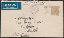 1831 GEORGE V 1s RATE CHRISTMAS AIR MAIL COVER LONDON TO SOUTH AFRICA