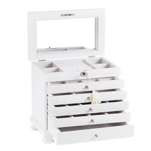 White Wood Jewelry Cabinet Vintage Armoire Box Mirror Storage Necklace Organizer