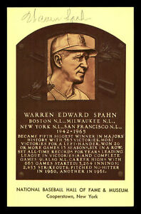Warren Spahn Autographed Signed HOF Plaque Postcard Milwaukee Braves 177230