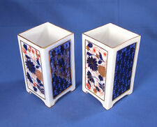 "Pair of Coalport Bone China 3.75"" Cabinet Vases w/ Imari Decoration c.1881-91"