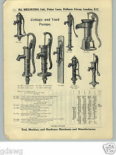 1913 PAPER AD Home House Cottage Water Hand Pumps Spout Heads