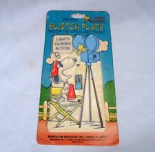 Vintage SNOOPY Hand Painted Switch Plate Lights Camera Action Woodstock 1965 USA