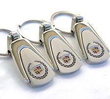 3x EN Key Chain Ring Chrome Cadillac cts Escalade Devile Eldorado srx dts xlr st