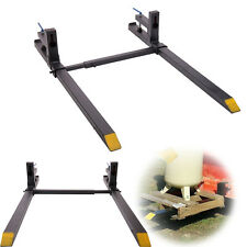 """43"""" LW Clamp on Pallet Forks 1500 lbs Capacity w/ Stabilizer Bar Loaders Chain"""