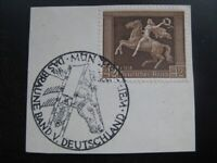 THIRD REICH Mi. #671 used Braunes Band Horse Race stamp on piece! CV $72.50