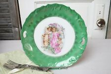 Antique Cabinet Plate Serving Round Tray Female Child Muses w Baby Angel Greens