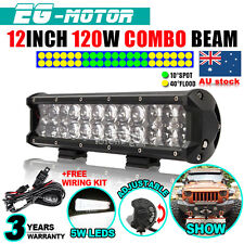 12INCH 120W OSRAM LED WORK LIGHT BAR SPOT FLOOD COMBO DRIVING LAMP TRUCK UTE 4WD