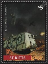 WWI German Empire A7V Battlefield Tank & Biplane Fighter Aircraft Dogfight Stamp