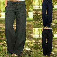 Mode Femme Pantalon Coton Poches latérales Fermeture éclair Jambes larges Plus