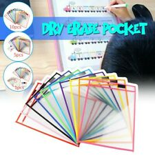 Resuable Dry Erase Pocket Sleeves Students Kids Write & Wipe Tool 1/2/5/10PCS
