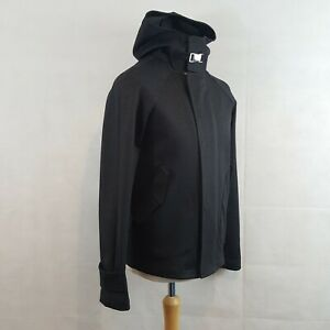 Zara Man Jacket Charcoal Size M Hooded Double Breasted Smart Zip Up