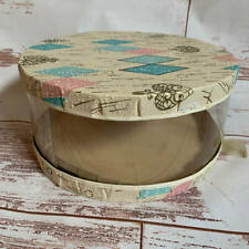 Vintage Retro Plastic Covered Round Hat Box for Womens and Mens Hats
