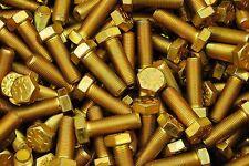 (50) Hex Head Bolts 1/2-20 x 1-1/2 Grade 8 Fine Thread Yellow Zinc USA Made