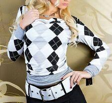 ♥ SeXy Miss Damen Shirt Karo Rauten Wasserfall Girly Long Top 34/36/38 grau NEU