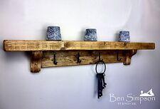 Chunky Rustic Wooden Coat Rack Shelf Shelves Coat Stand Clothes Rail Handmade 4 Hooks - 100cm Old Pine