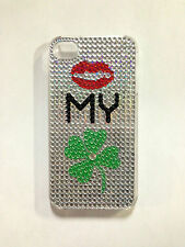 """Kiss My Irish"" Rhinestone Studded Metallic iPhone 4/4S Hard Plastic Case"