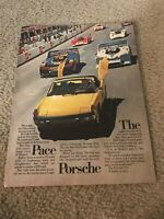 "Vintage 1973 PORSCHE CONVERTIBLE Car Print Ad 1970s YELLOW ""THE PACE PORSCHE"""
