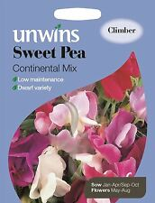 Unwins Pictorial Packet - Flower - Sweet Pea Continental Mix - 35 Seeds