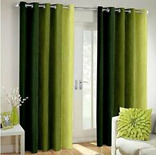 Polyester Blend Striped Window Curtains - Set of 2 Green
