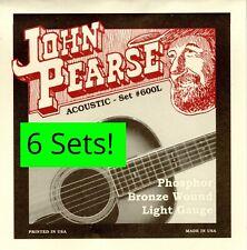 6 Sets! John Pearse 600 600L Acoustic Guitar Strings Phosphor Bronze .012-.053W