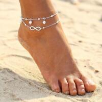 tobillera chic plata chapado en oro doble cadena cruz forma perla pulsera