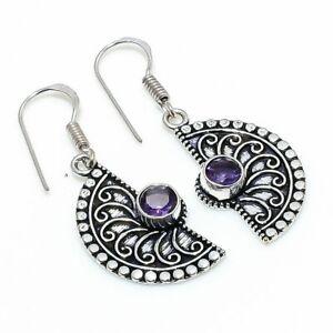 """Amethyst Gemstone Handmade 925 Sterling Silver Jewelry Earring 1.58 """" S623"""