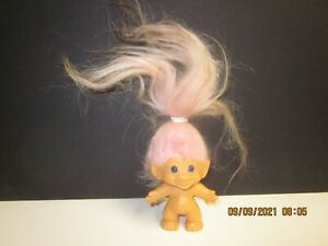 """1960's 3"""" TROLL DOLL PINK  Black Tipped Fur Hair and Blue Eyes,"""