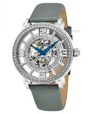 Stuhrling 777 01 Winchester Automatic Skeleton Grey Leather Strap Womens Watch
