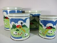 Vintage Set of Metal CANISTERS Farm House Sheep Country Kitchen Decor Farm Rusti