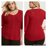 Torrid | Red Cable Knit Sweater Tunic Womens 2X