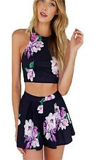 Women Casual Floral Short Sleeve Crop Tops Shorts Two Piece Set Jumpsuit Romper