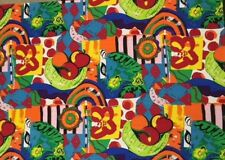 Silk Large Scale Print Fabric Stylized Fruit Bowl Red Lime Green Yellow Abstract