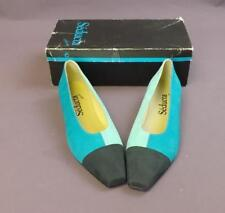 SEDUCTA Size 8 Turquoise Nubuck Leather Ladies Heeled Court Shoes New Boxed #