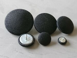Black Suit Fabric Buttons 10mm 16mm 18mm 20mm 23mm 25mm 31mm 37mm Small & Large