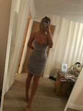 Size 12 EX Pretty Little Thing Grey Ruched Drape Plunge Bodycon Tight Short Dres